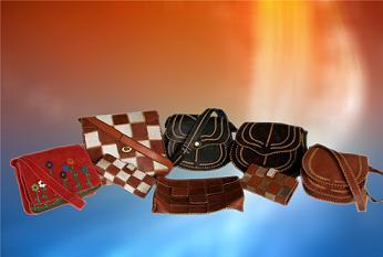 تولید کیف های چرمی در کارگاه صنایع دستی مجتمع تولیدی قزلحصار
